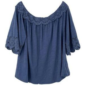 Oddi Size 1X Blue Crochet Flowy Top Plus Size